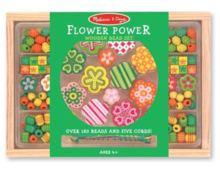Set margele din lemn Flower Power