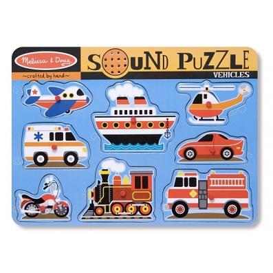 Puzzle de lemn cu sunete 'Vehicule'