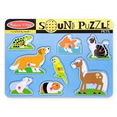 Puzzle de lemn cu sunete 'Animale de companie'