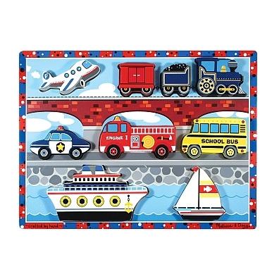 Puzzle lemn in relief 'Mijloace de transport'